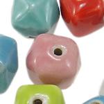 Beads xham porcelani, Kthesë, xham, ngjyra të përziera, 13-14.5mm, : 1.8-2.5mm, 100PC/Qese,  Qese