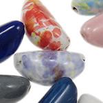 Beads xham porcelani, Oval, xham, ngjyra të përziera, 14x26.50mm, : 2.5mm, 100PC/Qese,  Qese
