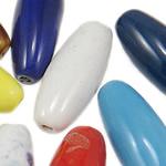 Beads xham porcelani, Tub, xham, ngjyra të përziera, 12x32.50mm, : 2-3.3mm, 115PC/Qese,  Qese