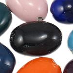 Beads xham porcelani, Oval, xham, ngjyra të përziera, 19.5-24mm, : 2-2.5mm, 60PC/Qese,  Qese