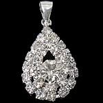 Tunxh, Lot, Ngjyra argjend praruar, me diamant i rremë, asnjë, , nikel çojë \x26amp; kadmium falas, 17x27.50x7mm, : 3.2x7mm, 20PC/Qese,  Qese