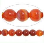 Natürlich rote Achat Perlen, Roter Achat, rund, verschiedene Größen vorhanden & Streifen, Bohrung:ca. 1mm, verkauft per ca. 15.2 ZollInch Strang