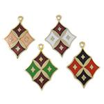 Pendants Cloisonne, Diamant, i përzier, 25.50x18.50x1.50mm, : 1.3mm, 20PC/Qese,  Qese