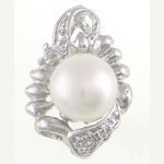 Pendants Pearl ujërave të ëmbla, Pearl kulturuar ujërave të ëmbla, natyror, e bardhë, 14.50x21.50x9.50mm, : 2.2x4mm, 20PC/Qese,  Qese