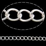 Twist Hekuri Oval Zinxhiri, Ngjyra argjend praruar, asnjë, , nikel çojë \x26amp; kadmium falas, 10x7.70x1.60mm, :25m,  PC