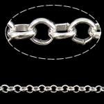 Hekuri Zinxhiri Rolo, Ngjyra argjend praruar, asnjë, , nikel çojë \x26amp; kadmium falas, 3.50x1mm, :100m,  PC