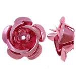 Beads bizhuteri alumini, Lule, pikturë, rozë, 15x15x10mm, : 1.5mm, 950PC/Qese,  Qese