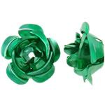 Beads bizhuteri alumini, Lule, pikturë, e gjelbër, 15x15x9mm, : 1.5mm, 950PC/Qese,  Qese