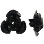 Aluminium-Lackschnitzerei, Aluminium, Blume, Spritzlackierung, schwarz, 8x8.50x5mm, Bohrung:ca. 1.1mm, 950PCs/Tasche, verkauft von Tasche