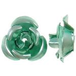 Beads bizhuteri alumini, Lule, pikturë, e gjelbër, 12x11.50x6mm, : 1.3mm, 950PC/Qese,  Qese