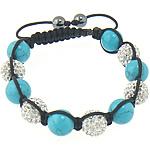 Shamballa Bracelets gur i çmuar, Argjilë, me diamant i rremë, 12mm, 8mm, : 11Inç, 10Fillesat/Shumë,  Shumë