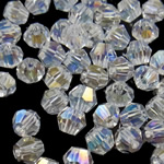 Swarovski Crystal Beads, Bicone, Kristal, 4mm, : 0.5mm, 50PC/Qese,  Qese