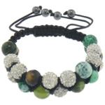Shamballa Bracelets gur i çmuar, Jeshile agat, with Argjilë, faceted & me diamant i rremë, 10mm, 8mm, :6-10.5Inç, 10Fillesat/Shumë,  Shumë