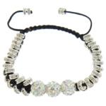 Tunxh Shamballa Bracelets, with Argjilë & Cord najlon, Shape Tjera, me diamant i rremë, , nikel çojë \x26amp; kadmium falas, 8mm, 2x5mm, :6-10Inç, 10Fillesat/Shumë,  Shumë