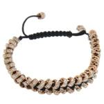 Tunxh Shamballa Bracelets, with Cord najlon, Shape Tjera, me diamant i rremë, e zezë, , nikel çojë \x26amp; kadmium falas, 2x5mm, : 6.5Inç, 10Fillesat/Shumë,  Shumë