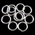 Iron Mbyllur Ring Jump, Hekur, Petull e ëmbël në formë gjevreku, Ngjyra argjend praruar, asnjë, , nikel çojë \x26amp; kadmium falas, 0.90x7mm, : 5mm, 10000PC/Qese,  Qese