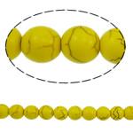 Bruz Beads, Bruz sintetike, Round, i verdhë, 10mm, : 1.5mm, :15.7Inç, 41PC/Fije floku,  15.7Inç,