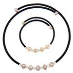 Natyrore kulturuar Pearl ujërave të ëmbla bizhuteri Sets, Pearl kulturuar ujërave të ëmbla, Round, rozë, 6-7mm, :17Inç,  9.5Inç,  I vendosur