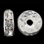 Ndarësit diamant i rremë, Petull e ëmbël në formë gjevreku, Ngjyra argjend praruar, Kristal, 8x8x3.50mm, : 1.8mm, 1000PC/Qese,  Qese