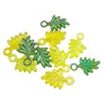 Pendants akrilik, Gjethe, Ngjyra AB kromuar, i tejdukshëm, ngjyra të përziera, 24x15x4.50mm, : 2.5mm, 5KG/Shumë,  Shumë