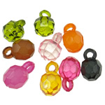 Pendants akrilik, Round, i tejdukshëm, ngjyra të përziera, 16x11mm, : 3.5mm, 5KG/Shumë,  Shumë