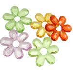 Pendants akrilik, Lule, i tejdukshëm, ngjyra të përziera, 45x6.50mm, : 10mm, 5KG/Shumë,  Shumë