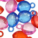 Pendants akrilik, Oval, i tejdukshëm, ngjyra të përziera, 22x14x8mm, : 4mm, 5KG/Shumë,  Shumë