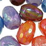 AB-ngjyra akrilik Beads kromuar, Oval, Ngjyra AB kromuar, ngjyra të forta, ngjyra të përziera, 15x12mm, : 5mm, 5KG/Shumë,  Shumë