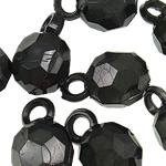 Pendants akrilik, Round Flat, ngjyra të forta, e zezë, 19x12mm, : 3.5mm, 5KG/Shumë,  Shumë