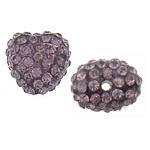 Rrëshirë Beads diamant i rremë, Rrëshirë diamant i rremë, Zemër, asnjë, me diamant i rremë, Lt Amethyst, 13x14x10mm, : 2mm, 30PC/Qese,  Qese