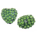 Rrëshirë Beads diamant i rremë, Rrëshirë diamant i rremë, Zemër, asnjë, me diamant i rremë, Gjelbër fier, 13x14x10mm, : 2mm, 30PC/Qese,  Qese