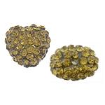 Rrëshirë Beads diamant i rremë, Rrëshirë diamant i rremë, Zemër, asnjë, me diamant i rremë, Lt Topaz, 13x14x10mm, : 2mm, 30PC/Qese,  Qese