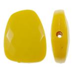 Beads Solid Color akrilik, Trapez, asnjë, ngjyra të forta, i verdhë, 23.40x30x8mm, : 2mm, 215PC/Qese,  Qese