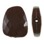 Beads Solid Color akrilik, Trapez, asnjë, ngjyra të forta, bojë kafe, 23.40x30x8mm, : 2mm, 215PC/Qese,  Qese