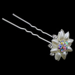 Kunjat e flokeve, Alloy zink, Lule, Ngjyra argjend praruar, me diamant i rremë, , nikel çojë \x26amp; kadmium falas, 78x24mm, 12Çiftet/Qese,  Qese