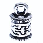 Zink Alloy Cap Fundi, Alloy zink, Shape Tjera, Ngjyra antike argjendi praruar, asnjë, asnjë, , nikel çojë \x26amp; kadmium falas, 10x10.50x2.50mm, : 2mm, 1250PC/KG,  KG