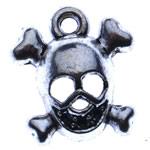 Pendants Skull Alloy zink, Kafkë, Ngjyra antike argjendi praruar, Antique imitim, asnjë, , nikel çojë \x26amp; kadmium falas, 13x14x4.50mm, : 2mm, 1400PC/KG,  KG