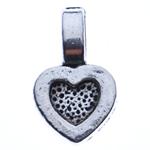 Zinklegierung Stiftöse Perlen, Herz, antik silberfarben plattiert, frei von Nickel, Blei & Kadmium, 15x9x4.50mm, Bohrung:ca. 5x3mm, ca. 1400PCs/kg, verkauft von kg