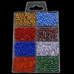 Seed Glass Beads përziera, i përzier, 88x140x10mm, 3x3.6mm, : 1mm,  Kuti