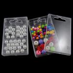 Beads akrilik të përziera, Round, ngjyra të përziera, 60x96x15mm, 6-21mm, : 1.5-3.5mm, :2.1Inç, 12Boxes/Qese,  Qese