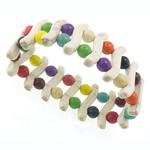 Fashion Bracelets Turquoise, Bruz sintetike, Shape Tjera, i lyer, ngjyra të përziera, 32x6x7mm, : 8Inç, 20Fillesat/Shumë,  Shumë