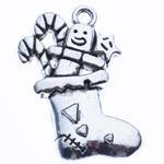 Pendants aliazh zink Krishtlindjeve, Alloy zink, Sock Krishtlindjeve, Ngjyra antike argjendi praruar, asnjë, , nikel çojë \x26amp; kadmium falas, 29.50x25x3mm, : 2mm, 290PC/KG,  KG