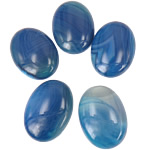Agat Cabochon, Blue agat, Oval, natyror, shirit, 30x40mm, 10PC/Qese,  Qese