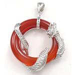 Pendants Red agat, Petull e ëmbël në formë gjevreku, 37x43.50x13.50mm, : 4x8mm,  PC