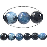 Natürliche Eis Quarz Achat Perlen, Eisquarz Achat, rund, zweifarbig, 12mm, Bohrung:ca. 1mm, Länge:ca. 15.5 ZollInch, 5SträngeStrang/Menge, verkauft von Menge