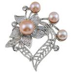 Pearl ujërave të ëmbla karficë, Pearl kulturuar ujërave të ëmbla, with Tunxh, Zemër, rozë, 46x49x16mm,  PC