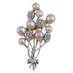 Pearl ujërave të ëmbla karficë, Pearl kulturuar ujërave të ëmbla, with Tunxh, Lule, rozë, 41x63x15mm,  PC