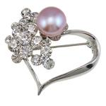 Karficë zbukurimi diamant i rremë, Zemër, me diamant i rremë, argjend, 33x37x17mm, 9-10mm,  PC