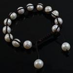 Ujërave të ëmbla Pearl Shamballa Bracelets, Pearl kulturuar ujërave të ëmbla, with Cord Wax, Shape Tjera, punuar me dorë, e bardhë, 7-8mm, :7.5Inç, 10Fillesat/Qese,  Qese