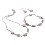 Natyrore kulturuar Pearl ujërave të ëmbla bizhuteri Sets, Pearl kulturuar ujërave të ëmbla, Oval, rozë, 6-7mm, 34mm, :18.5Inç,  6.5Inç,  I vendosur